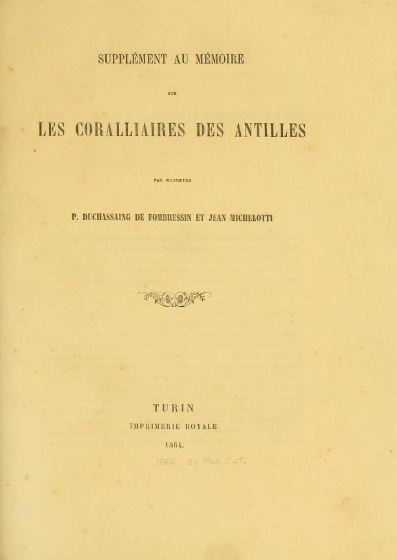 Supplement au Memoire sur Les Coralliaires Des Antilles