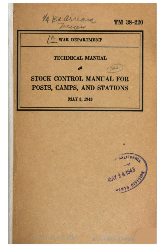 United States. War Department - TM 38-220 Stock Control Manual For Posts, Camps, and Stations, 1943