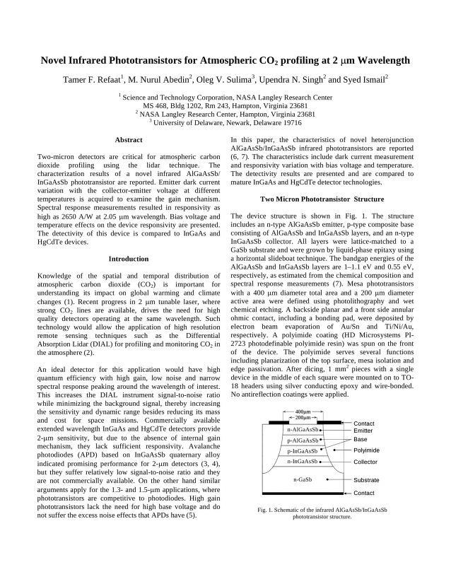 Tamer F. Refaat - Novel Infrared Phototransistors for Atmospheric CO2 Profiling at 2 Micron Wavelength