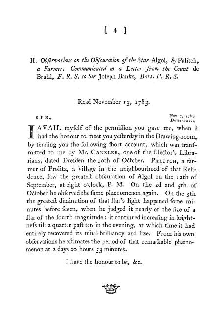 . Palitch - Observations on the Obscuration of the Star Algol, by Palitch, a Farmer. Communicated in a Letter from the Count de Bruhl, F. R. S. to Sir Joseph Banks, Bart. P. R. S.
